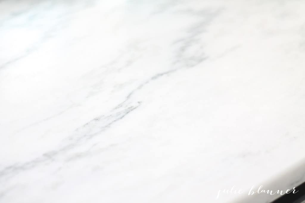 A close up photo of Danby marble sealed with marble sealer.