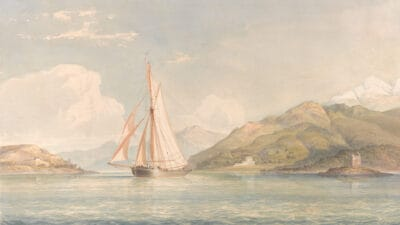 A pale pastel public domain painting of a sailboat in the ocean.