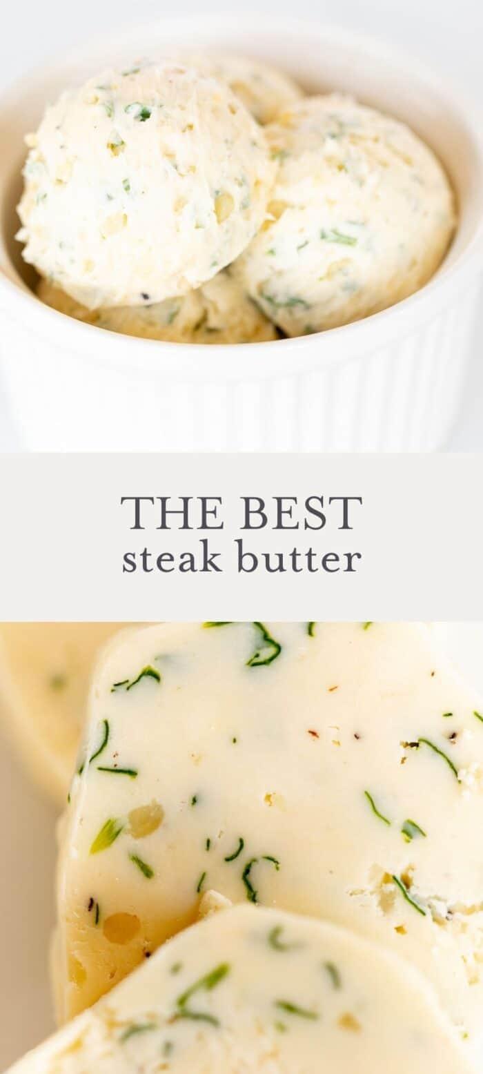 steak butter in bowl, overlay text, close up of steak butter