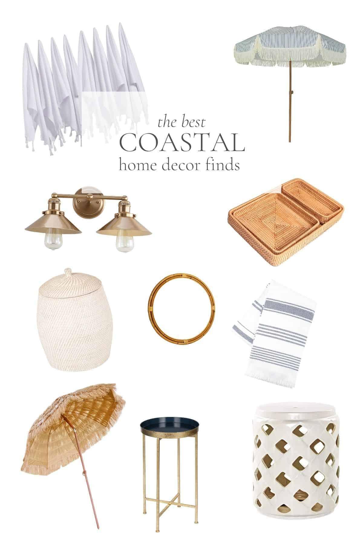 collection of coastal modern home decor