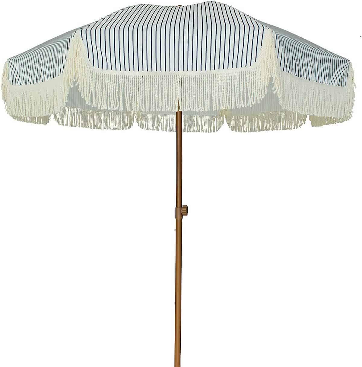 navy stripe tassel umbrella
