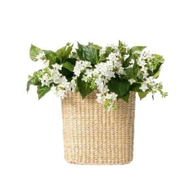 basket filled with silk lilacs