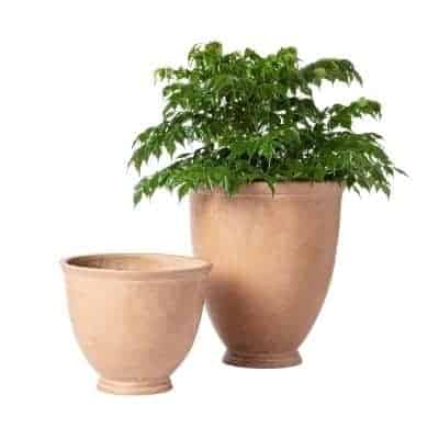 2 outdoor planters terracotta in color