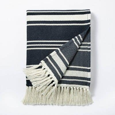 A navy striped woven throw blanket from studio mcgee target