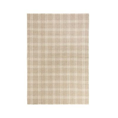 tan and cream plaid rug