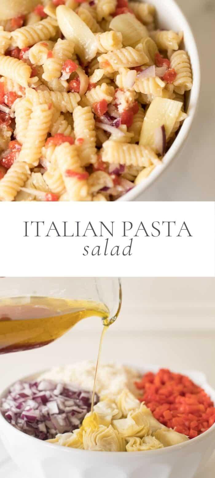 Italian pasta salad, overlay text, close up of ingredients in pasta salad