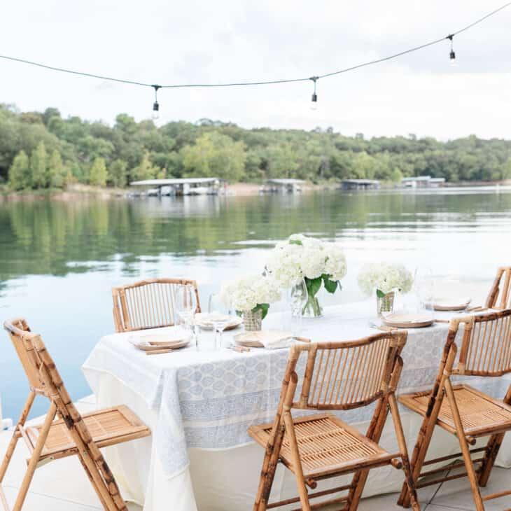al fresco dining over a lake