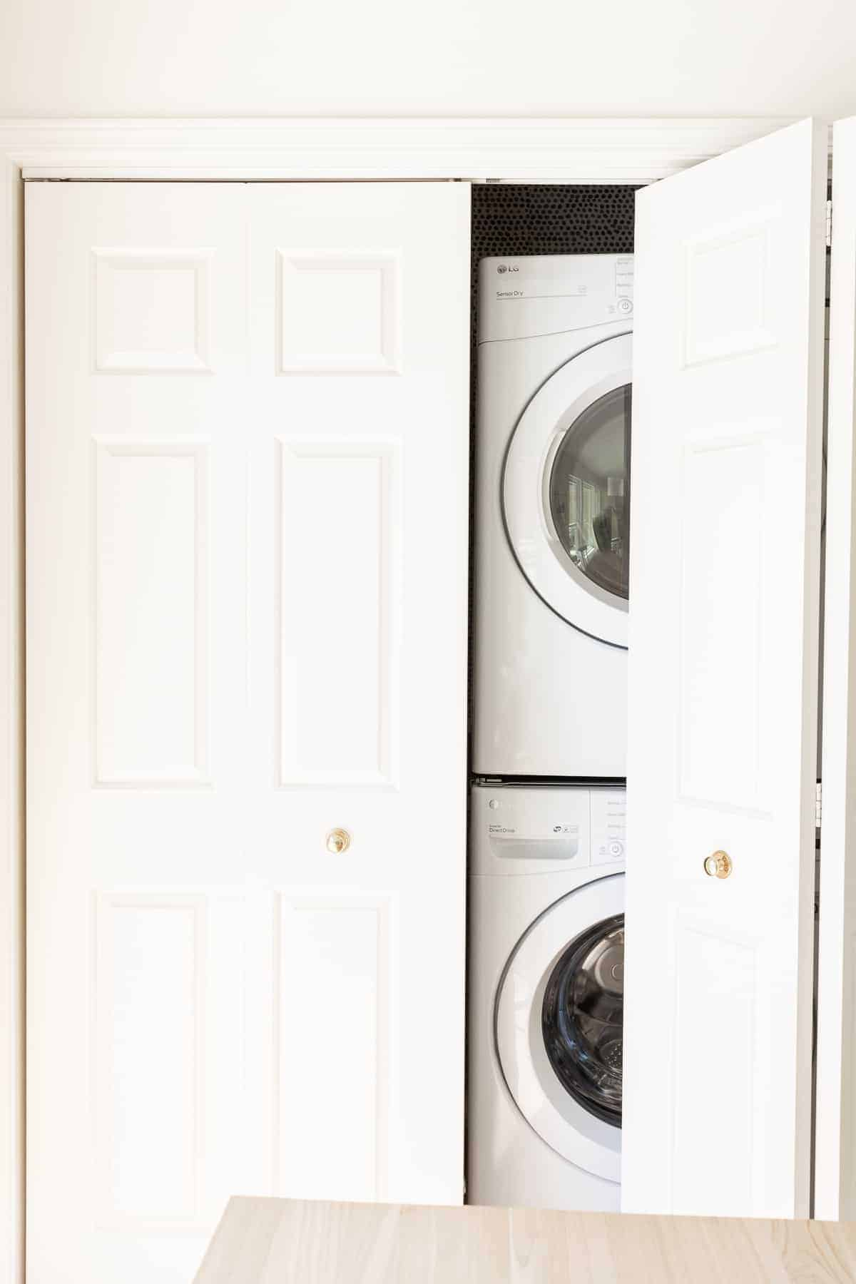 look at the laundry closet with the doors closed