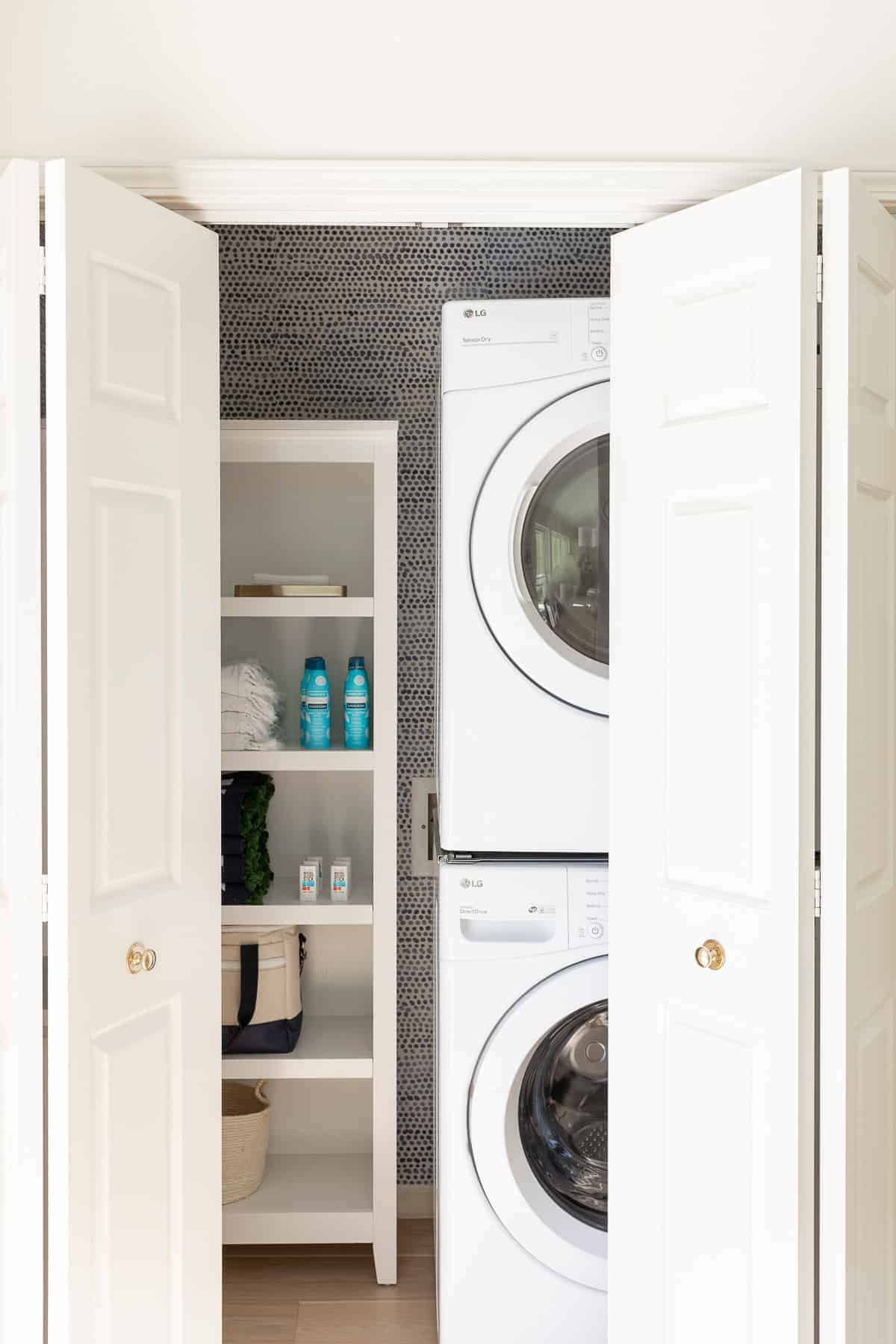 laundry cabinet with partially open doors