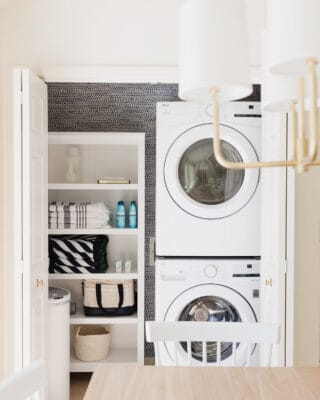 laundry closet in kitchen