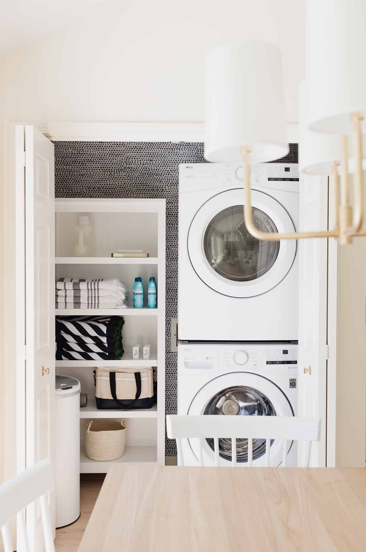 laundry cabinet in the kitchen