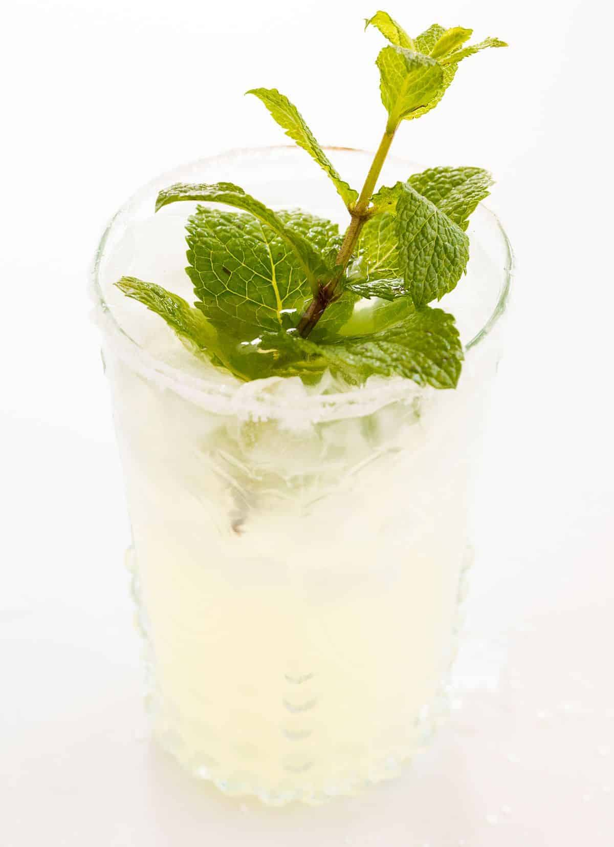 A mint margarita recipe in a clear glass, garnished with fresh mint.