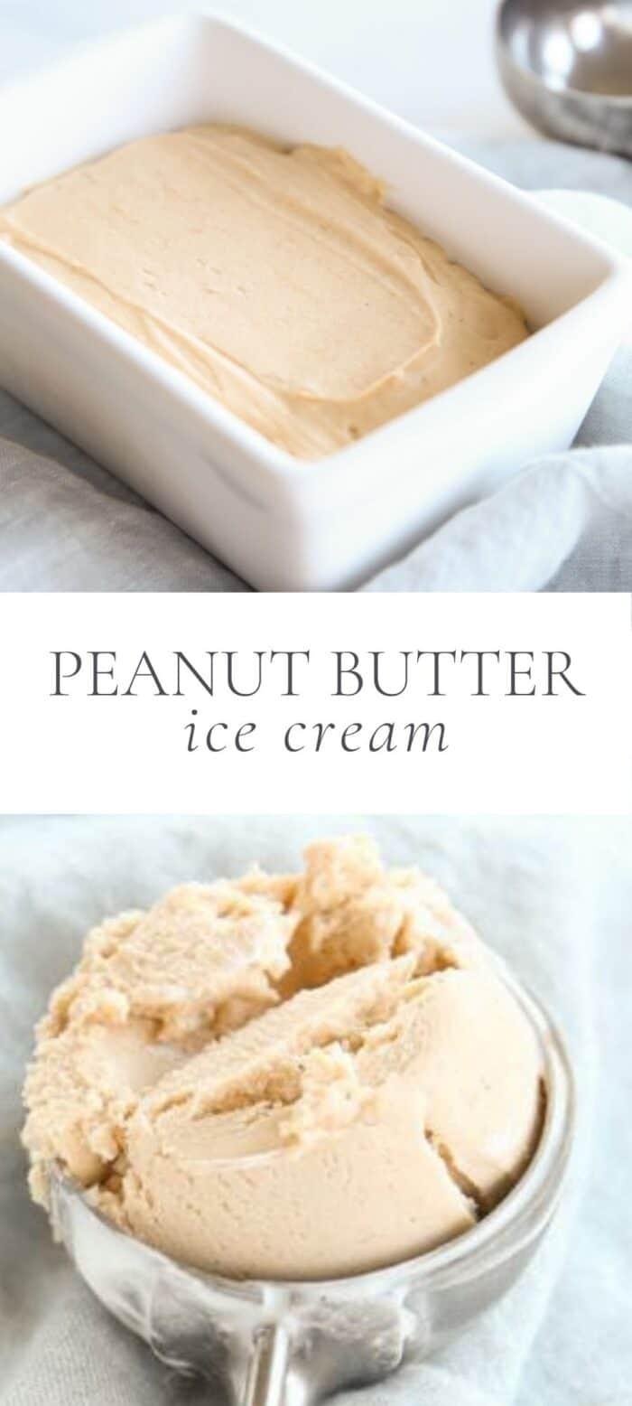 peanut butter ice cream, overlay text, close up of scoop of ice cream