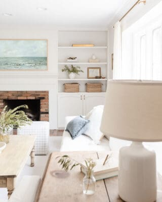 neutral living room with frame tv