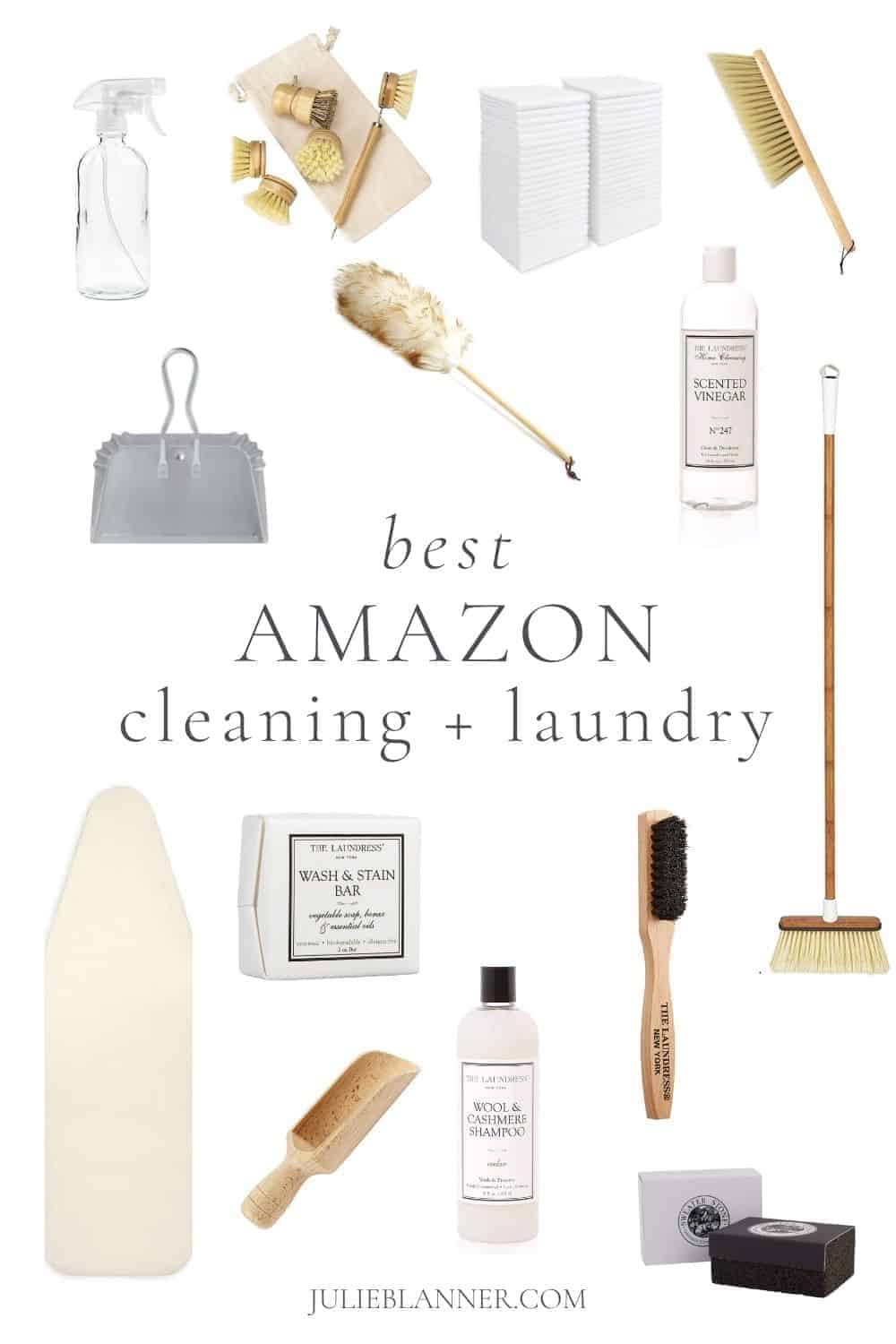 collage with text overlay of amazon home laundry and cleaning supplies