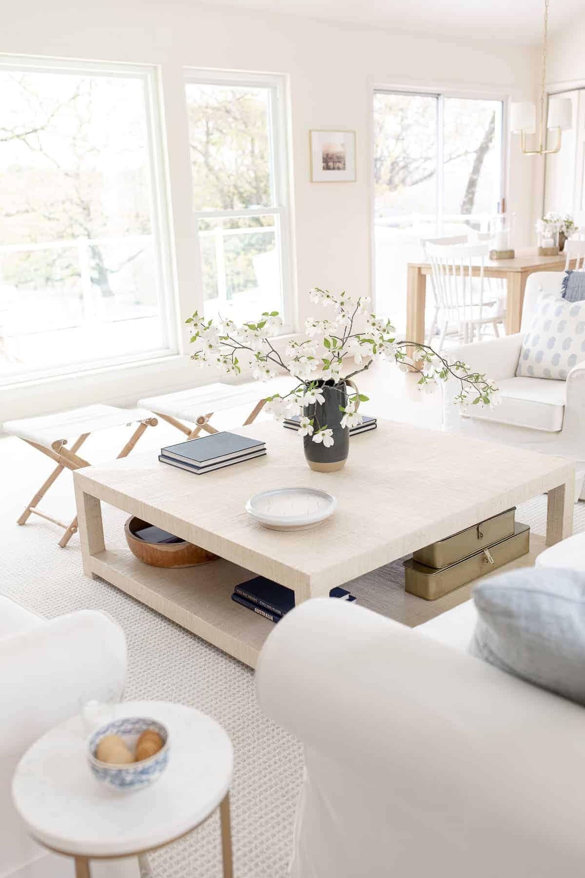 coastal living room with coffee table