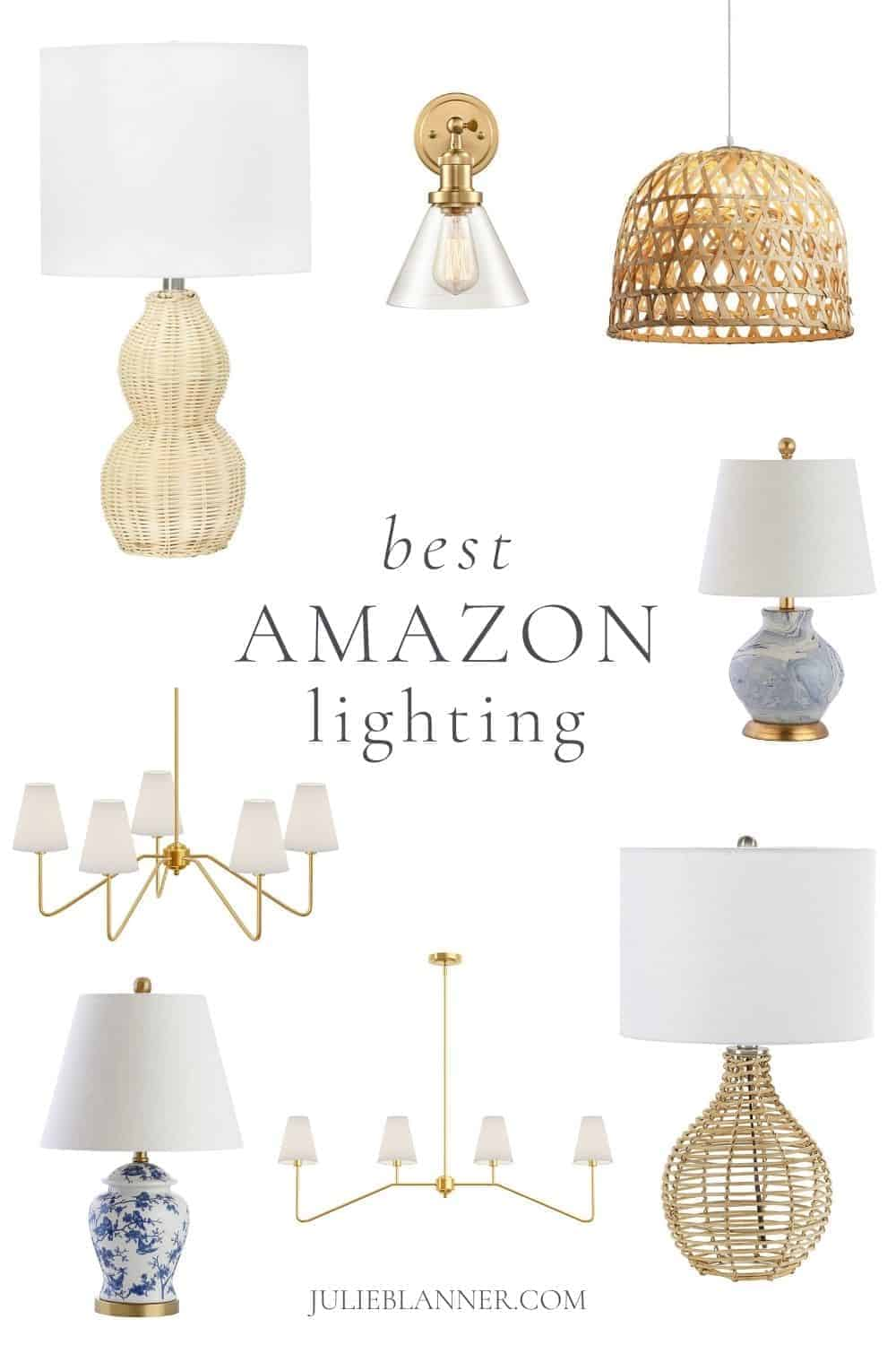 collage of light fixtures from amazon home