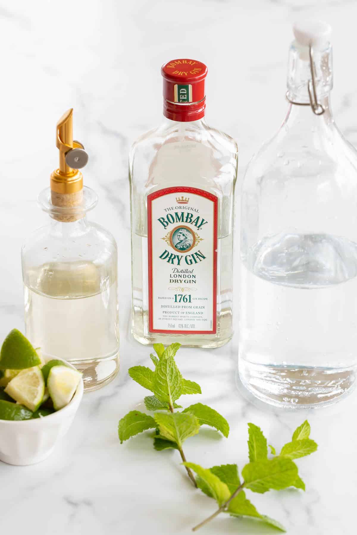 Ingredients for a gin mojito recipe laid out on a marble surface.