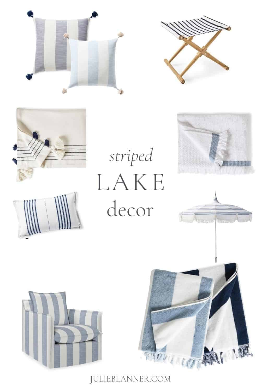 striped furniture and home decor in a collage with text overlay