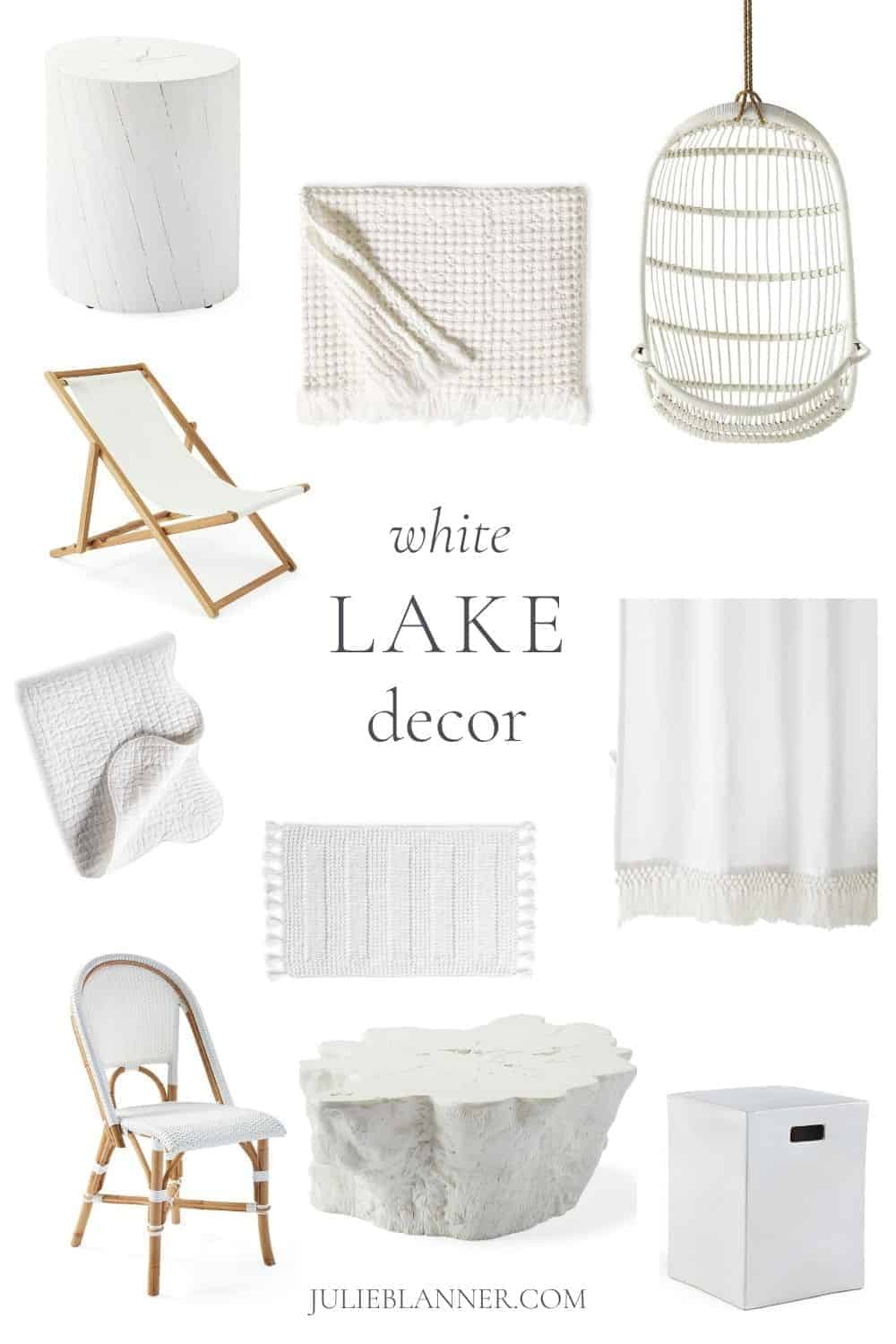 collage white lake house decor and furniture