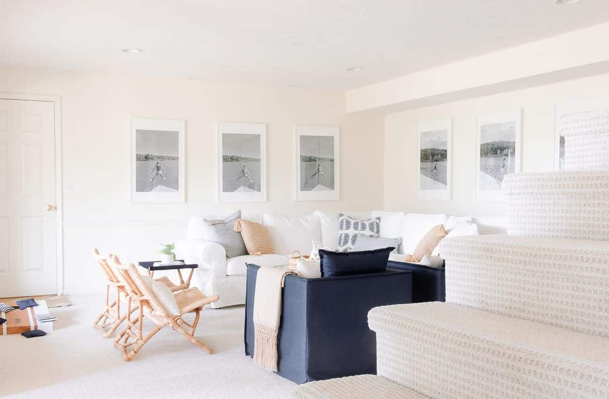 neutral and navy lake house decor in a living room