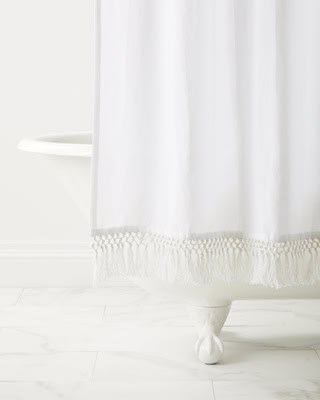 white linen shower curtain with tassels