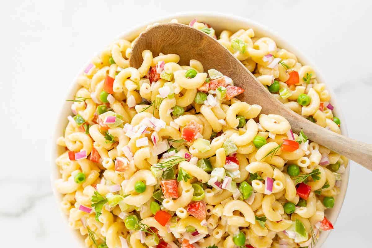 macaroni salad with colorful veggies