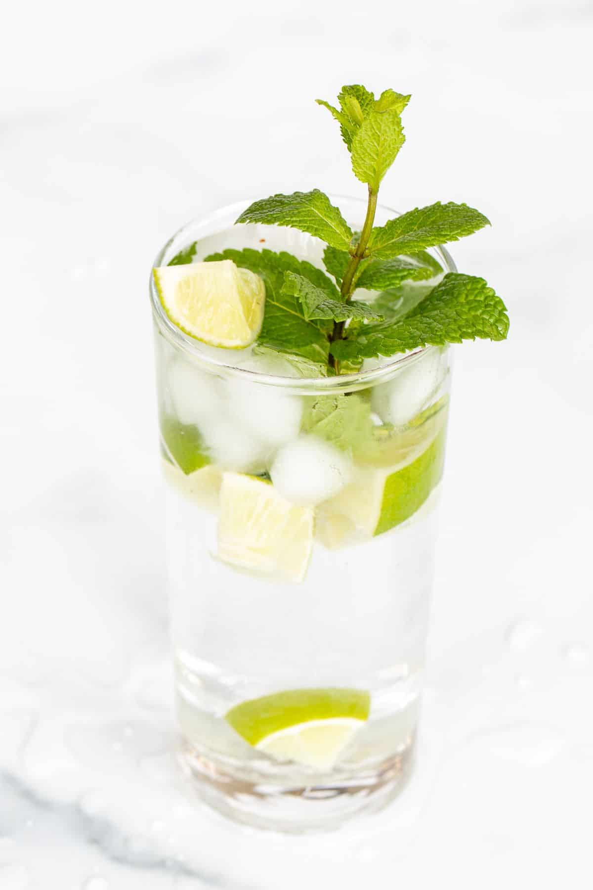 A clear glass full of a virgin mojito recipe, garnished with lime and mint.