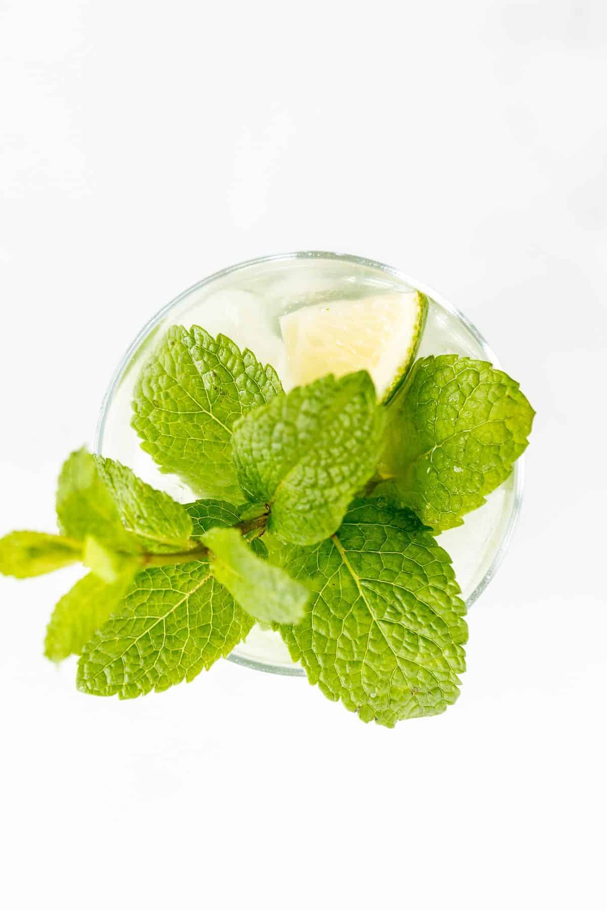 Looking down into a clear glass topped with a stem of mint and a wedge of lime.