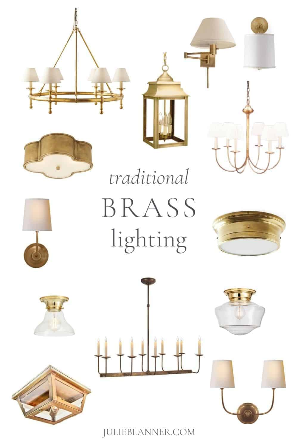 collage of brass chandeliers sconces and flush mounts