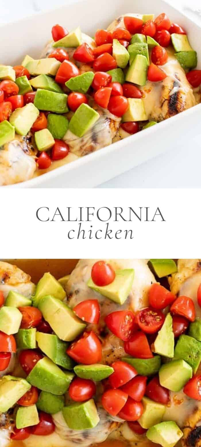 California chicken in dish, overlay text, close up of California chicken