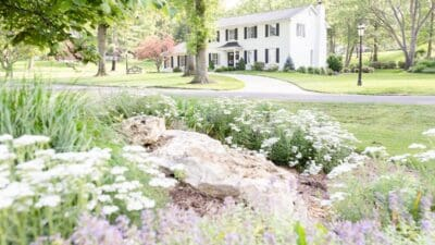 A colonial brick house painted in Benjamin Moore Simply White, flowers in the foreground of the image.