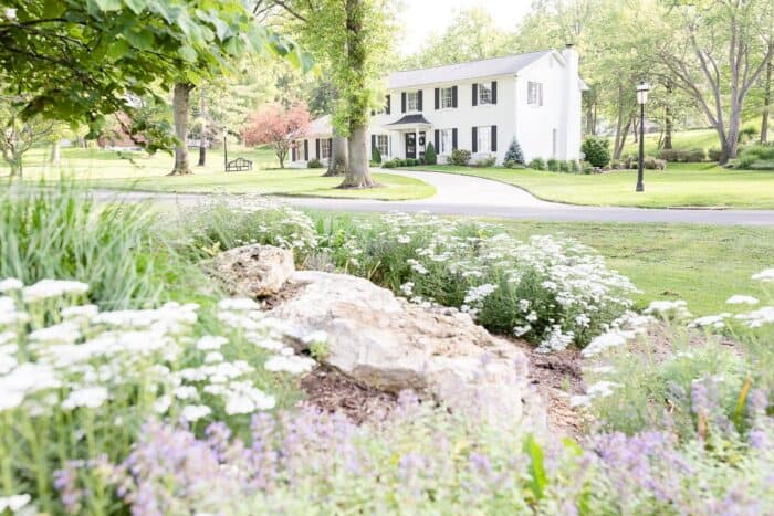 A colonial brick house painted in Benjamin Moore Simply White, flowers in the foreground of image.