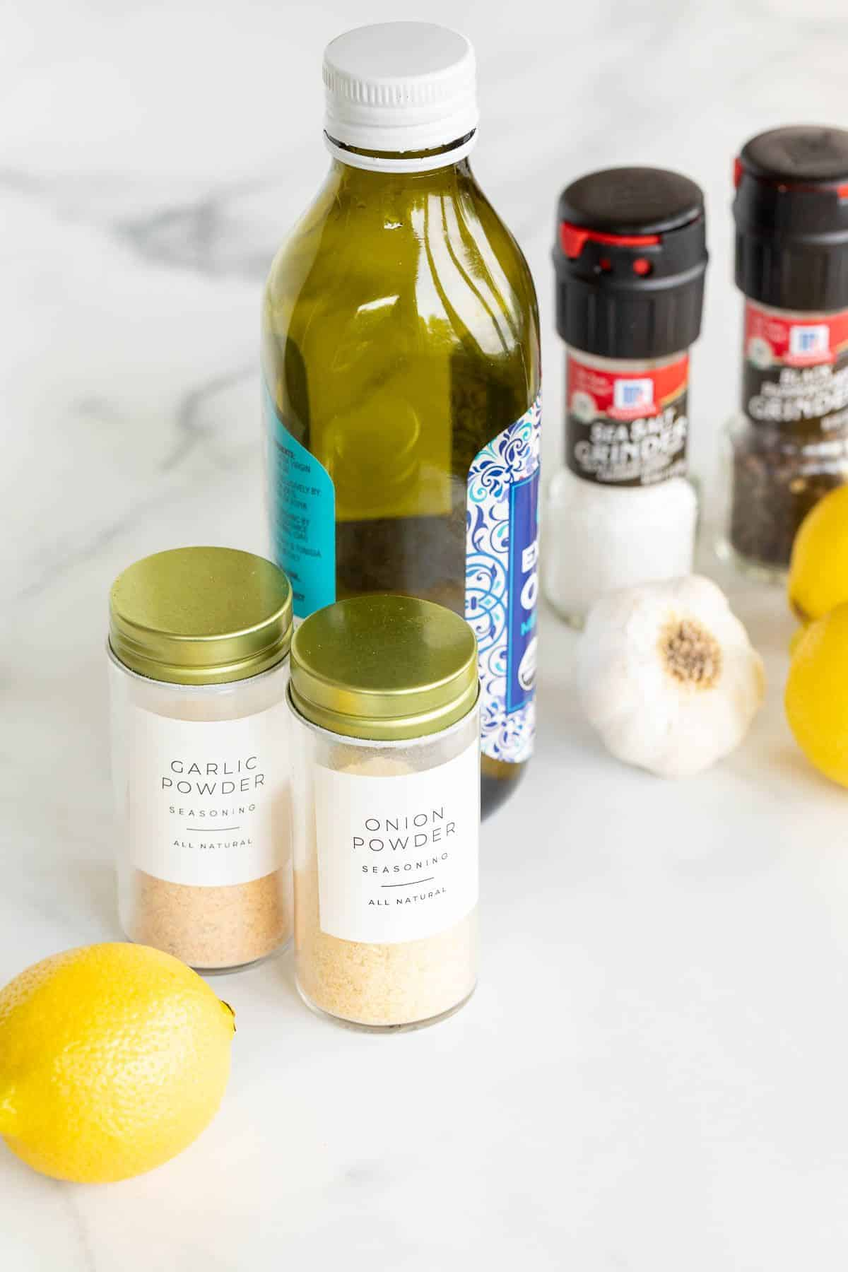 Ingredients for California chicken marinade on a white marble surface.