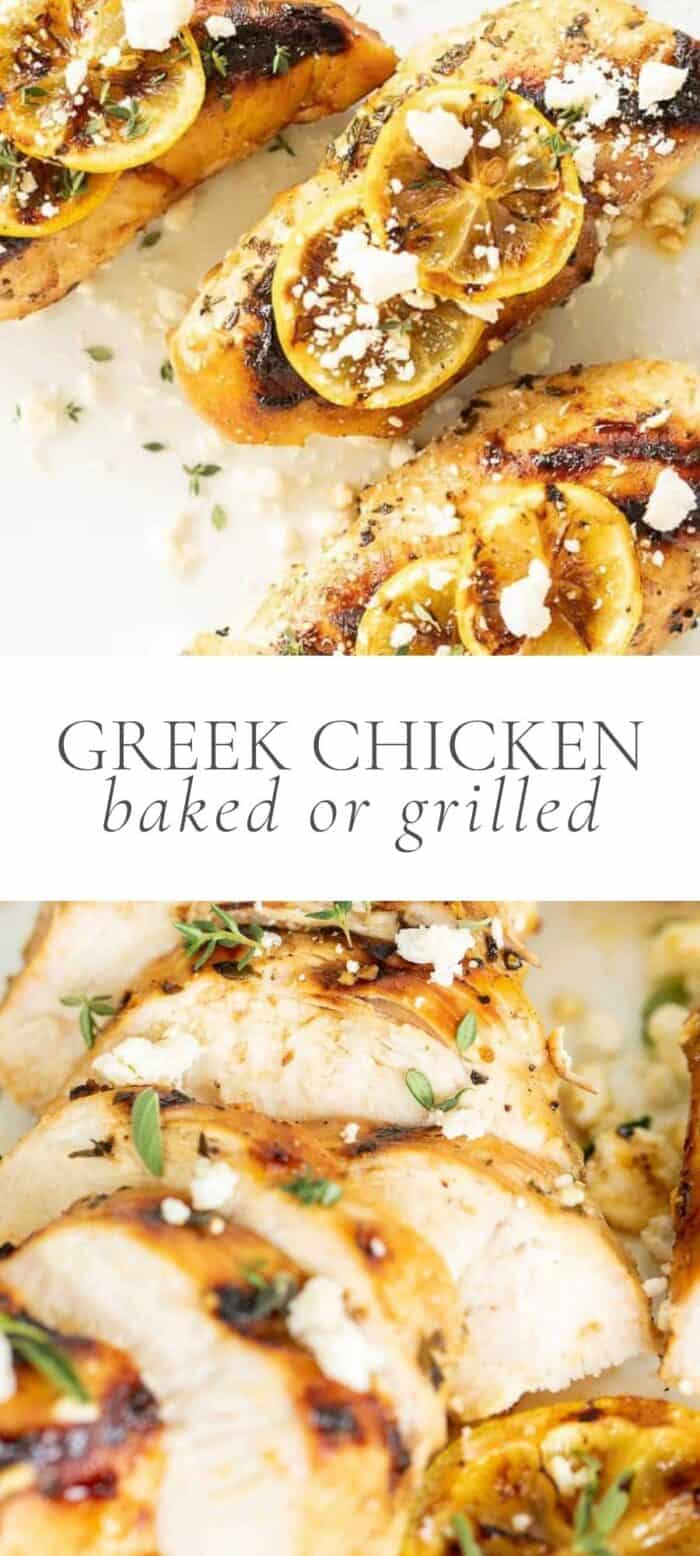 greek chicken with lemon slices and feta, overlay text, close up of sliced greek chicken