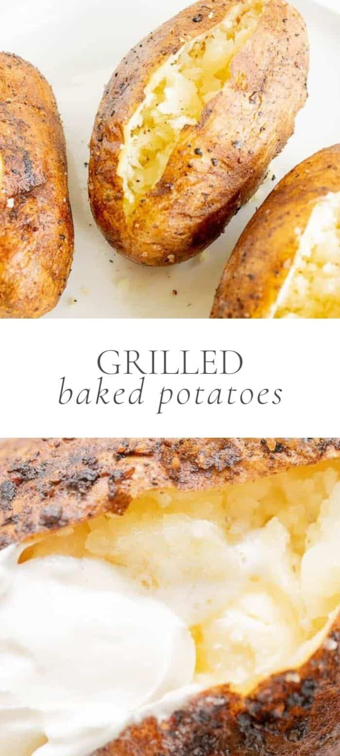 grilled baked potatoes on countertop, overlay text, close up of grilled potato with butter