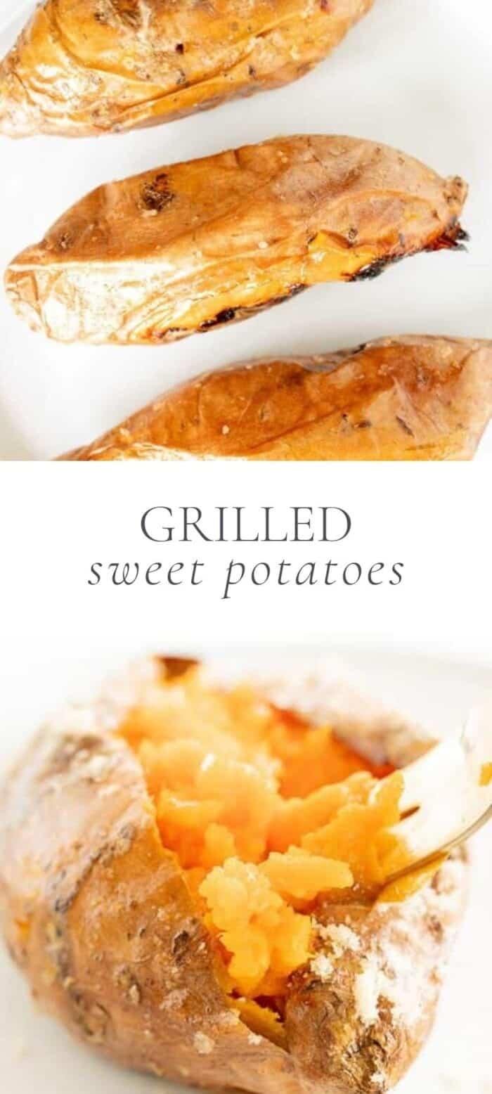 grilled sweet potatoes, overlay text, close up of grilled sweet potatoes with fork