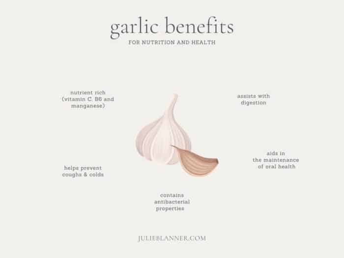 A graphic with an image of garlic and surrounding text listing the benefits of garlic.