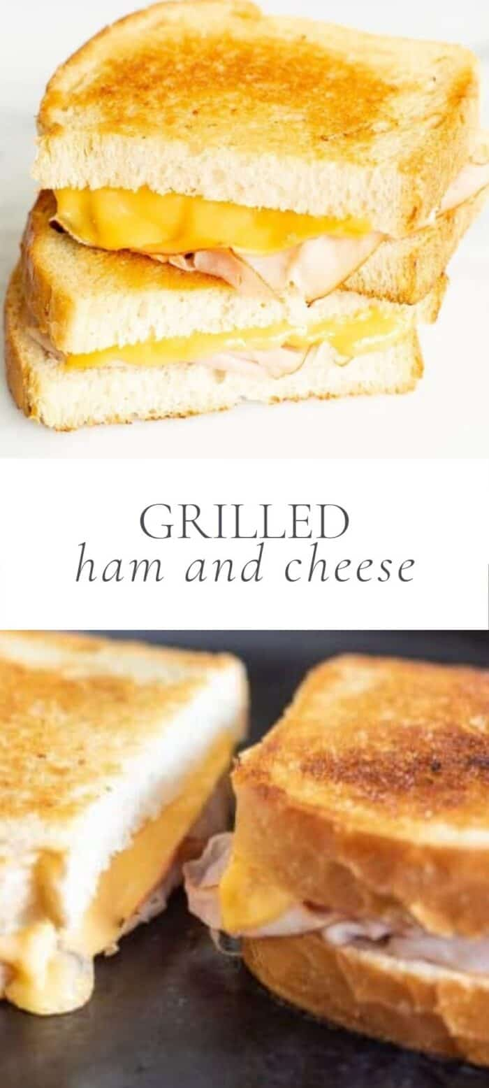 grilled ham and cheese sandwich stacked, overlay text, ham and cheese on the grill