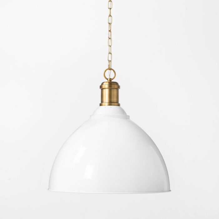 white and gold pendant light