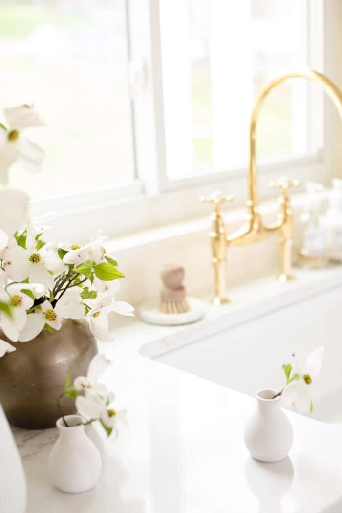 kitchen sink with brass faucet and quartz countertops