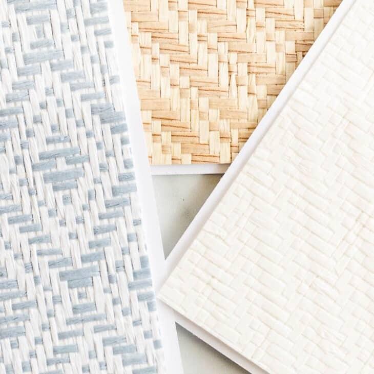 Three small samples of Serena and Lily wallpaper