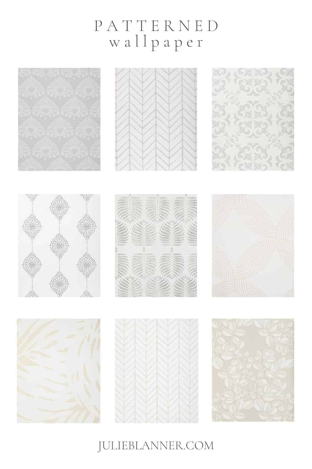 A collage of neutral patterned Serena and Lily wallpapers, with text at the top that reads Patterned Wallpaper.