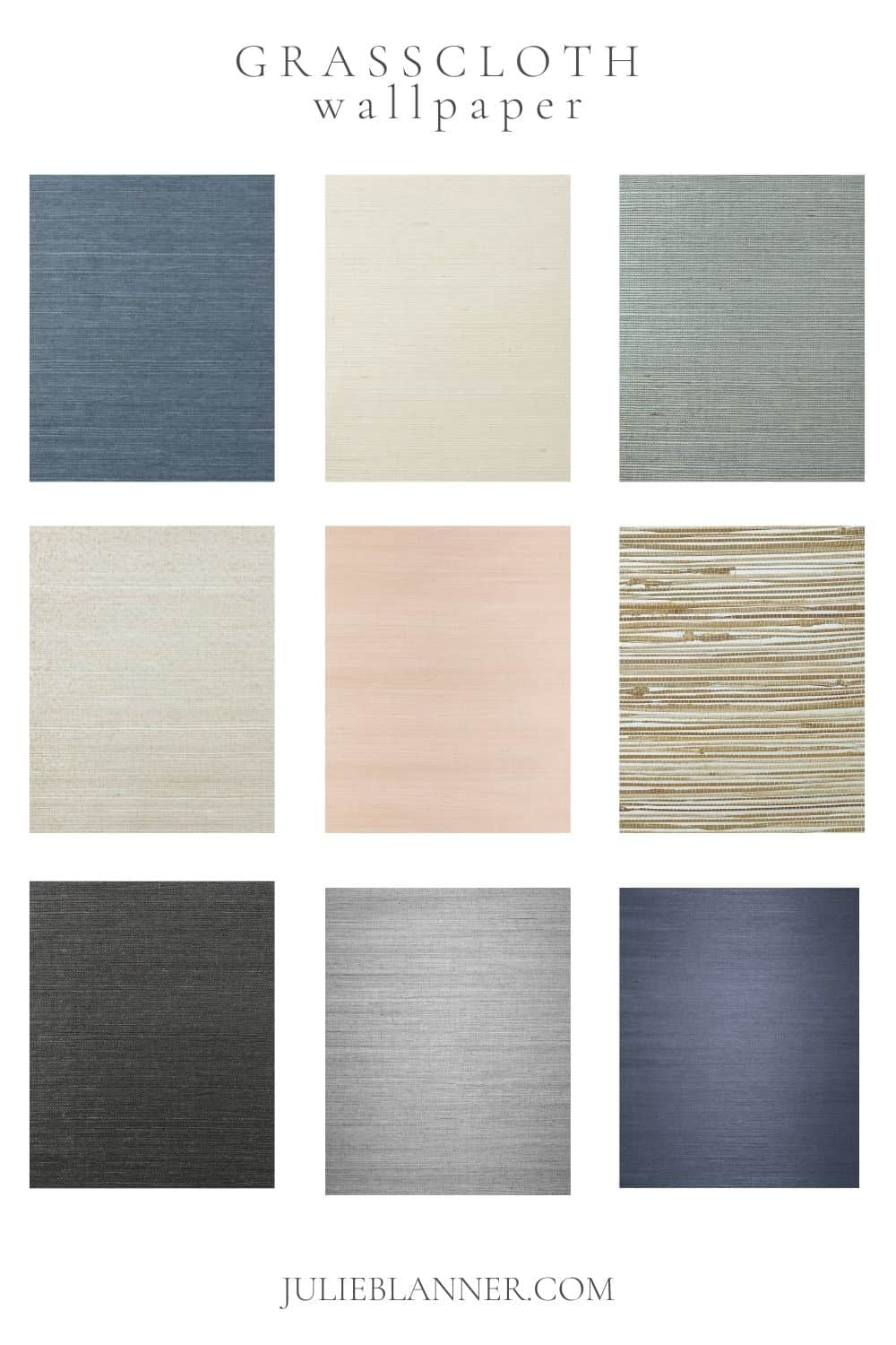 A collage of grasscloth Serena and Lily wallpapers, with text at the top that reads Grasscloth Wallpaper.