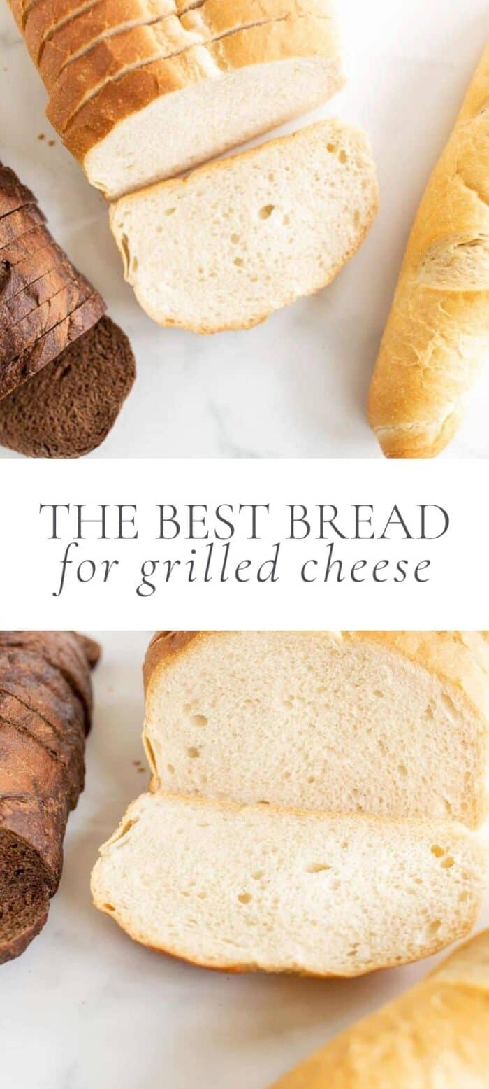 3 loaves of bread for grilled cheese, overlay text, close up of bread