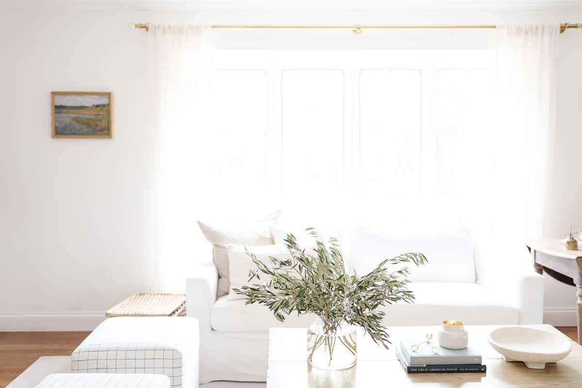coffee table book styling in neutral living room