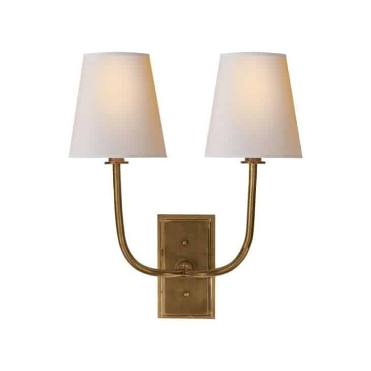 brass traditional double sconce