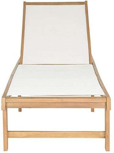 white and wood chaise