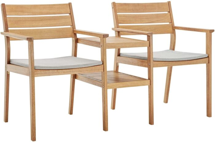 2 wood chairs with table between