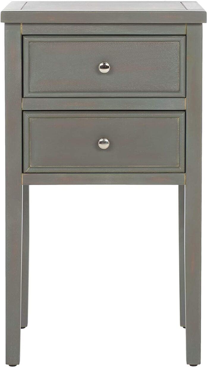 grey 2 drawer nightstand